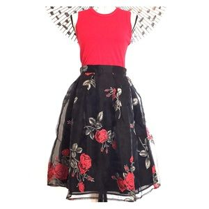 Dresses & Skirts - NWT sexy & fun black floral tulle skirt 🌺